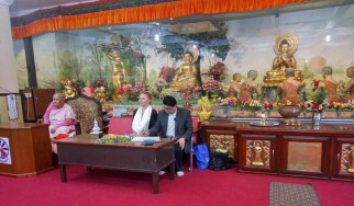 Lecture at a Buddhist monastery in Kathmandu